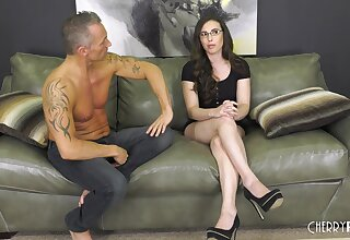 Polemical ill-lighted Casey Calvert with glasses having coition with a stranger