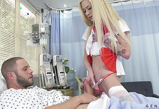 Breathtaking transsexual nurse Jenna Gargles enjoys some cruel doggy anal