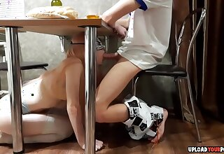 My roomatee is a bit shy and she started sucking my learn of under table until I cum round her mouth
