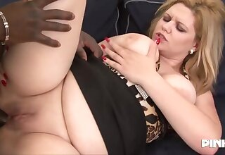 Plump blonde milf with reference to big boobs and deep throat, Jessica is doing it with reference to a black dude